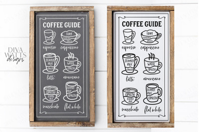 Coffee Guide Menu - Farmhouse Kitchen Bar Sign Cut File