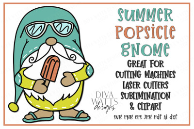 Summer Popsicle Gnome Cut File - SVG DXF EPS