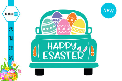 Happy Easter Svg, Easter Truck With Eggs Svg