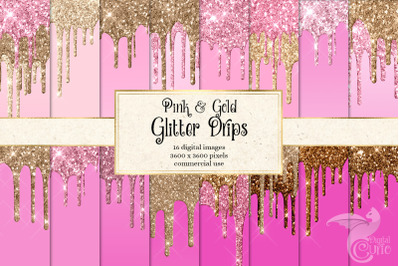 Pink and Gold Glitter Drips Digital Paper