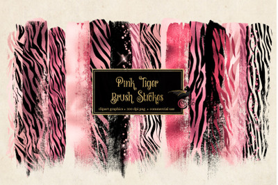 Pink Tiger Brush Strokes Clipart
