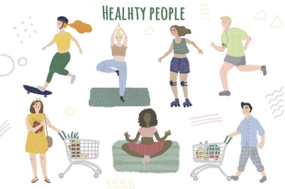 Healthy lifestyle people illustrations set