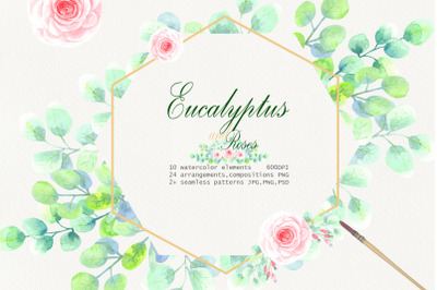 Watercolor  Eucalyptus and Roses Clip Art
