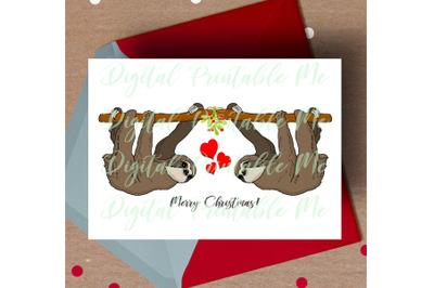 Sloth Christmas Card, printable christmas card, love Sloth Card