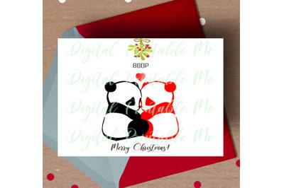 Panda Christmas Card, printable christmas card, love panda card,