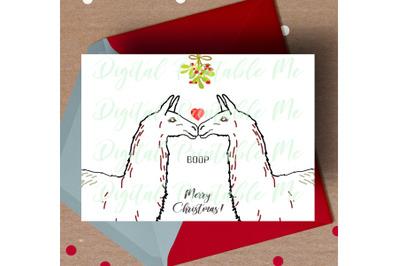 Llama Christmas Card, printable christmas card, love llama card, mistl