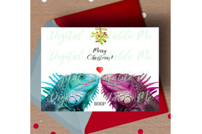 Iguana Christmas Card, printable christmas card, love lizard card