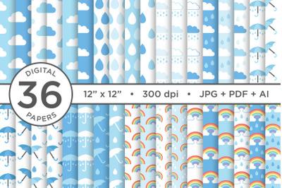 Rainy Day Blues Seamless Patterns