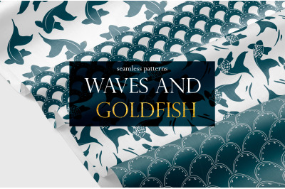 Vector set. Waves and goldfish