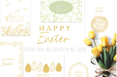 Happy Easter graphic set, DIY card stationery, patterns making,