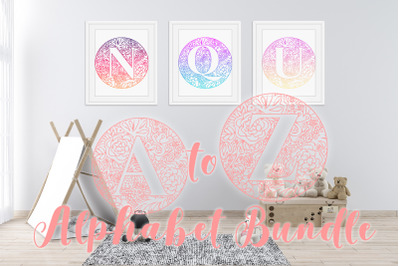 Mandala Monogram Alphabet A to Z SVG BUNDLE