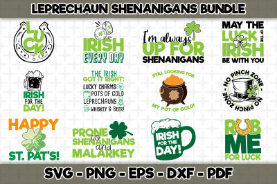Leprechaun Shenanigans SVG Bundle - 12 Designs Included