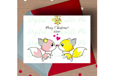 Fox Christmas Card, printable christmas card, love fox Card, mistletoe