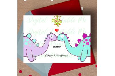 Dinosaur Christmas Card, printable christmas card, love dino Card, mis