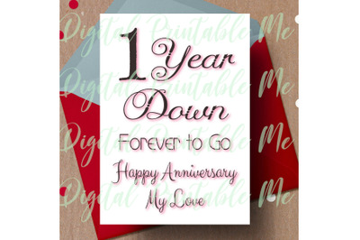 1st anniversary Card, printable first anniversary card, one year anniv