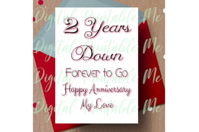 2nd anniversary Card, printable second anniversary card, 2 year annive