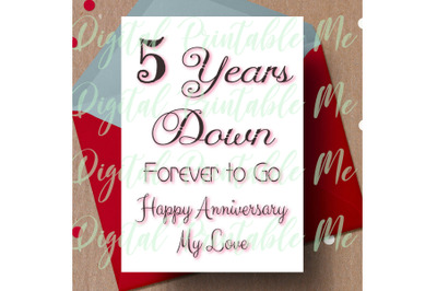 5th anniversary Card, printable fifth anniversary card, 5 year anniver