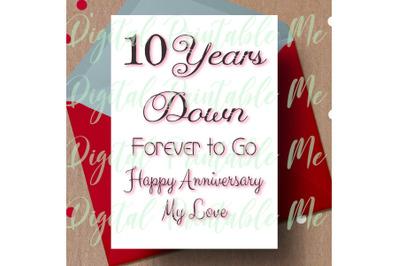 10th anniversary Card, printable tenth anniversary card, 10 year anniv