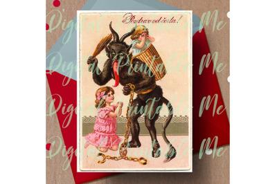 Merry Krampus Card Printable, Krampus Card, 5x7 Gruss vom Krampus Vint