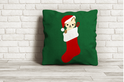 Christmas Stocking Cat | SVG | PNG | DXF