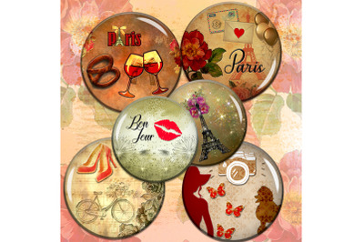 Paris Digital Collage Sheet,Vintage Images,Paris Digital Cabochon