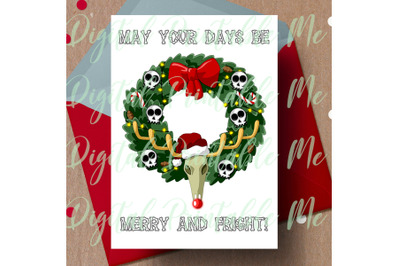 Merry and Fright, alternative christmas, dark christmas card, gothic C