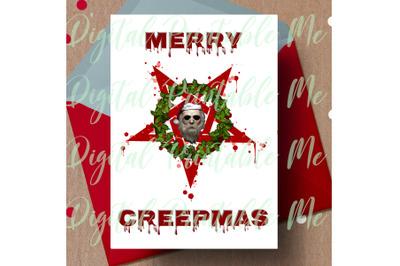 Merry Creepmas, alternative christmas, dark christmas card, gothic Chr