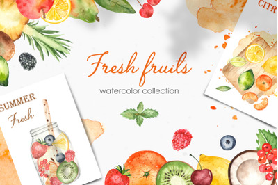 Watercolor fresh fruits and berries. Clipart, frames, seamless pattern