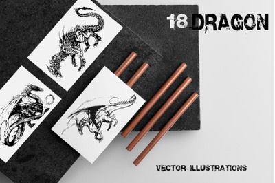 18 dragons hand drawn vector illustrations