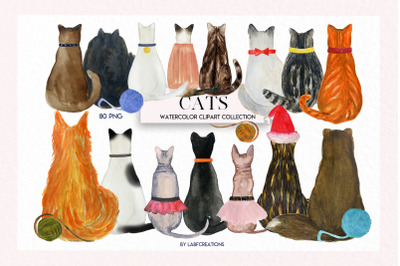 Cats watercolor. Backs of cat.