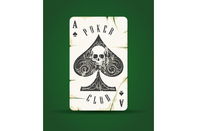 Ace of Spades with Skull Playing Card Emblem