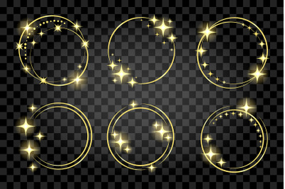 Set of Golden Circle Stardust Frame isolated on Transparent Background