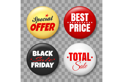 Sale Button Badges Set on Transparent Background