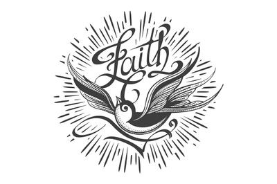 Retro Tattoo with Swallow and lettering Faith