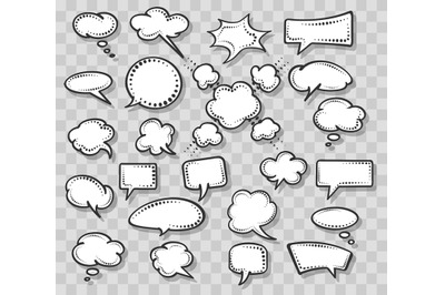 Retro speech bubbles set on transparent background