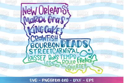 Mardi Gras svg Lousianna New Orleans King Cake Beads svg