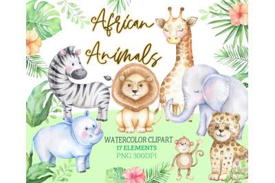 Watercolor african animals safari zoo clipart baby shower kid png Afri