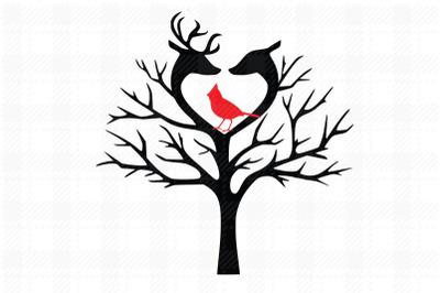 Tree/Cardinals/Bird/Christmas