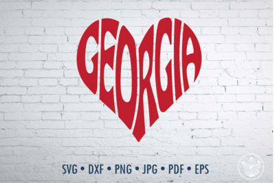 Georgia Word Art heart sgape, Svg Dxf Eps Png Jpg, Cut file