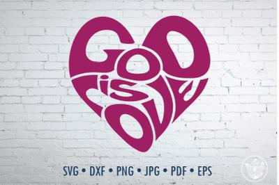 God is love Word Art heart sgape, Svg Dxf Eps Png Jpg