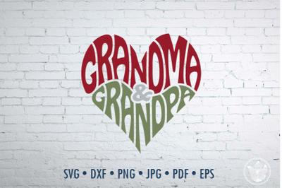 Grandma & Grandpa Word Art heart shape, Svg Dxf Eps Png Jpg