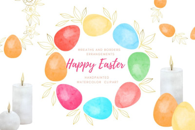 Easter wreath and arrangement clipart set. Watercolor eggs