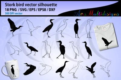 Stork bird silhouette bundle