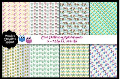 Owl Patterns Digital Paper Pack