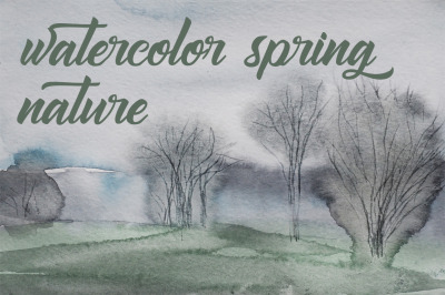 watercolor landscape summer tree and field pt 2