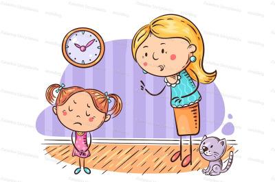 Mother scolding her upset daughter, cartoon illustration