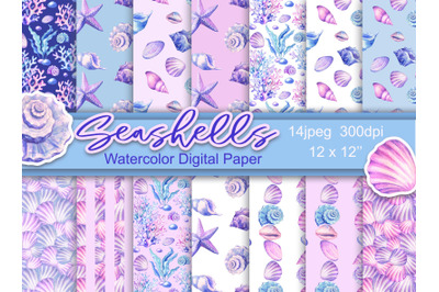 Watercolor seashells digital paper seamless patterns  scrapbooking