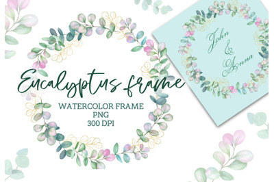 Watercolor frame with eucalyptus green PNG clipart