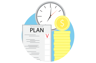 Plan time and golden coins vector icon