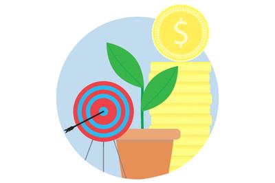 Financial success, achieving goals vector icon